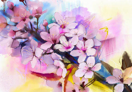 light painting: Watercolor Painting Cherry blossoms - Japanese cherry - Pink Sakura floral in soft color over blurred nature background. Spring flower seasonal nature background
