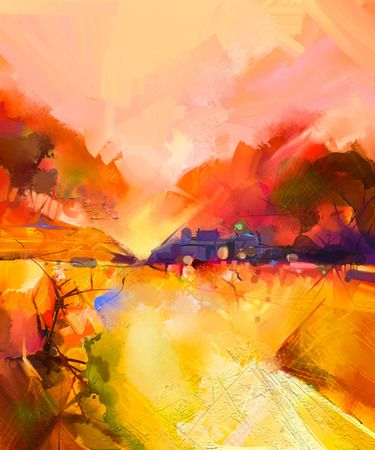 Abstract colorful yellow and red oil painting landscape on canvas. Semi- abstract image of tree, hill and yellow flowers meadow (field) with orange sky. Spring,Summer season nature background