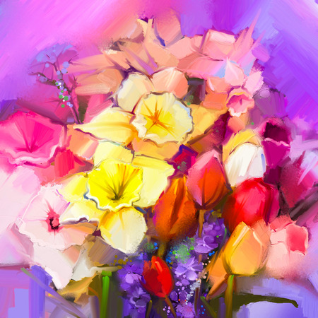 life style: Still life of yellow and red color flowers .Oil painting a bouquet of daffodil and tulip flowers. Hand Painted floral Impressionist style