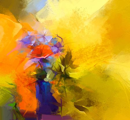 赤のガーベラの花の静物画抽象画油絵。明るい黄色、赤い背景と春の花のカラフルな花束。塗装済み完成品花 modren 印象派風を手します。