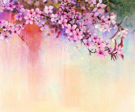 cerezos en flor: Acuarela flores de cerezo - pintura de cerezo japonés - Sakura rosado florales de color suave sobre la naturaleza de fondo borrosa. Flor de primavera naturaleza estacional fondo
