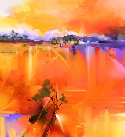 Astratto colorato paesaggio dipinto ad olio giallo e rosso su tela. Semi immagine astratta di albero, collina prato (campo) con il cielo arancione. Primavera, Estate stagione la natura di fondo