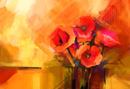 flower of life: Abstract oil painting Still life of red poppy flower. Colorful bouquet of spring flowers with light yellow, red background. Hand Painted floral modren Impressionist style