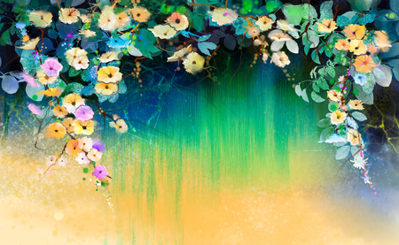 Abstract flowers watercolor painting. Hand painted White, Yellow and Red floral in soft color on blue green color background. Ivy flowers in tree park. Spring flower seasonal nature background