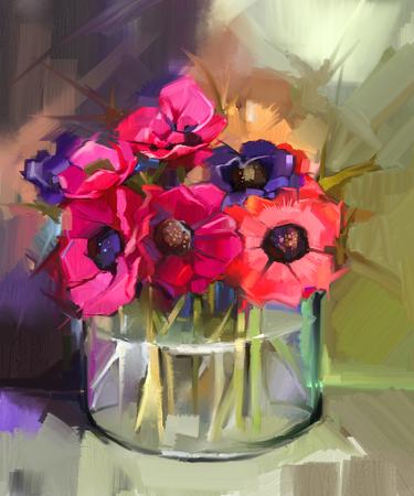 Ancora la vita di un mazzo di fiori. pittura ad olio anemoni rossi di fiori in vaso di vetro. A mano floreale dipinto in stile impressionista Archivio Fotografico