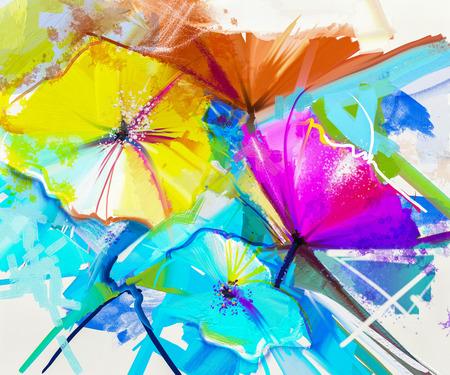 cuadros abstractos: pintura al óleo abstracta de colores de la flor del resorte. La naturaleza muerta de amarillo, rosa y gerbera rojo. ramo de flores con fondo amarillo, verde y azul claro. Pintado a mano de estilo impresionista floral Foto de archivo