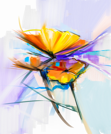flowers close up: Abstract oil painting of spring flowers. Still life of yellow and red gerbera flower. Colorful Bouquet flowers with light green-blue color background. Hand Painted floral modern Impressionist style