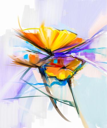 Pittura a olio astratta di fiori primaverili. Still life di giallo e rosso fiore gerbera. Fiori variopinti bouquet con sfondo chiaro colore verde-blu. Dipinto a mano floreale stile impressionista moderno