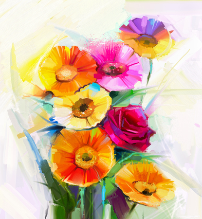 yellow flower: Still life colorful of yellow and red spring flowers painting. Oil painting a bouquet of rose,daisy and gerbera flower. Hand Painted floral Impressionist style.