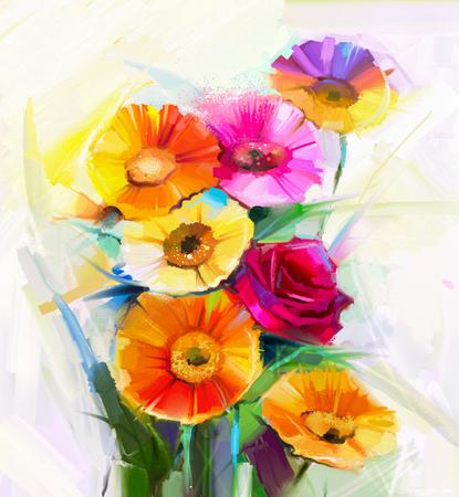 Stilleven kleurrijk van gele en rode lente bloemen schilderen. Olieverfschilderij van een boeket van roos, margriet en gerbera bloem. Hand geschilderde bloemen impressionistische stijl.
