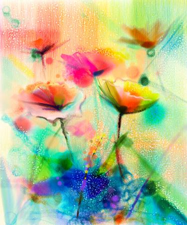 花の水彩画を抽象化します。手は、黄色と緑の光の青色の背景に柔らかい色にデイジー ガーベラの花の白、黄色、ピンク、赤の色をペイントします