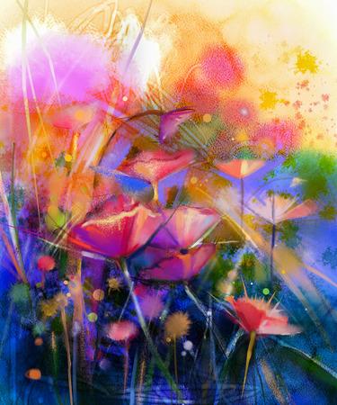 花の水彩画を抽象化します。手は柔らかい色黄色、緑、青い色の背景上にデイジー ガーベラの花の白、黄色、ピンク、赤の色をペイントします。春