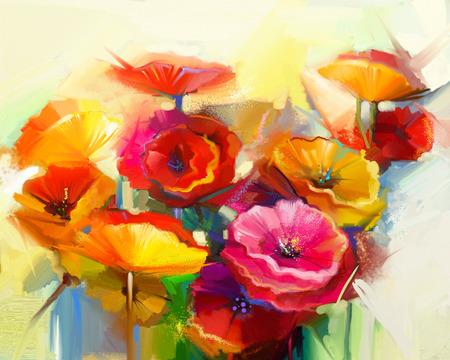 春の花の抽象画油絵。黄色、ピンク、赤いポピーの静物。明るい黄色、緑および青の背景とカラフルな花束の花。ハンド塗装済み完成品花印象派ス 写真素材
