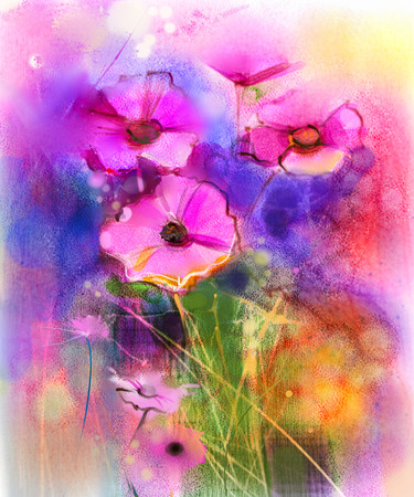 Watercolor painting nature grass flowers. Hand paint close up pink cosmos flower, pastel floral and shallow depth of field. Spring flowers in soft color on yellow, red, blue color background.