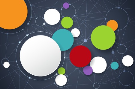 Vector illustration molécules abstraites et de la technologie de communication concept de médias sociaux avec du papier 3D label- cercles intégrés et de l'espace pour votre contenu, affaires, modèle infographique, le réseau et la conception web.