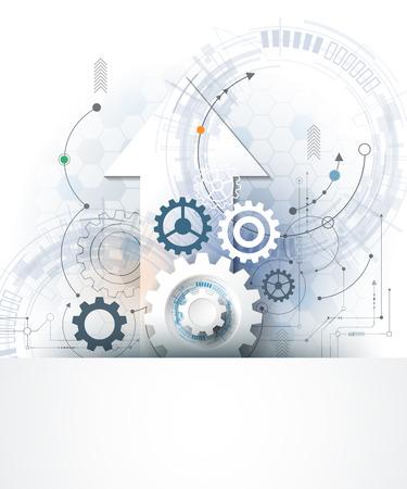 Vecteur engrenage illustration roue, hexagones et carte de circuit, la technologie numérique Salut-tech et de l'ingénierie, le concept de la technologie des télécommunications numériques. Résumé futuriste sur fond de couleur bleu clair Vecteurs