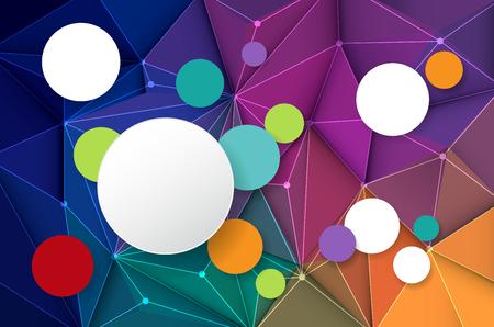 triangulo: ilustración vectorial círculo de papel blanco etiqueta en 3D abstracto geométrico, forma del patrón del triángulo poligonal y fondo multicolor, azul, púrpura, amarillo y verde Vectores