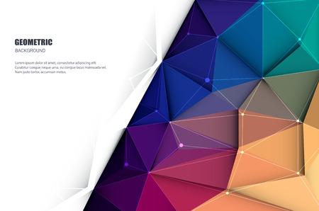 Vector illustratie wit papier (lege ruimte voor uw inhoud) op abstracte 3D Geometrische, veelhoekige, driehoek patroon vorm en veelkleurige, blauwe, paarse, gele en groene achtergrond Stockfoto - 55157473