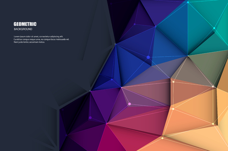 Vector illustration white paper (blank space for your content) on Abstract 3D Geometric, Polygonal, Triangle pattern shape and multicolored,blue, purple, yellow and green background Иллюстрация