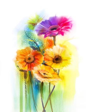 抽象的な花の水彩画。手イエロー、ピンクと赤の色デイジー-ガーベラ白黄、緑の色の背景上の柔らかい色に花の静物をペイント。春の花、自然の背 写真素材