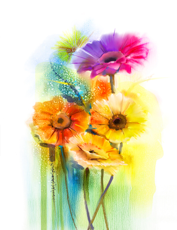 gerber: Abstract flowers watercolor painting. Hand paint still life of Yellow, Pink and Red color daisy- gerbera floral in soft color on white yellow, green color background. Spring flower nature background