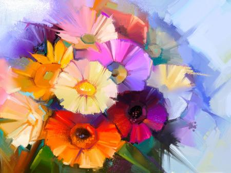 추상 꽃 유화입니다. 손 페인트 노란색, 분홍색 및 빨강 색상 데이지 -gerbera 녹색 푸른 색 배경에 부드러운 색상 꽃의 아직도 인생. 꽃병에 봄 꽃