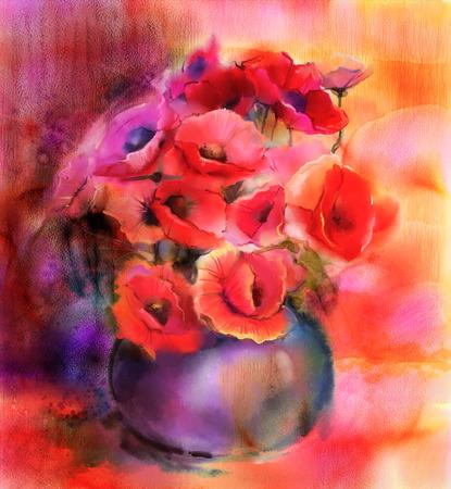 Pittura Natura morta di colorflower rosso e rosa. Colorato mazzo di fiori di papavero in vaso Archivio Fotografico