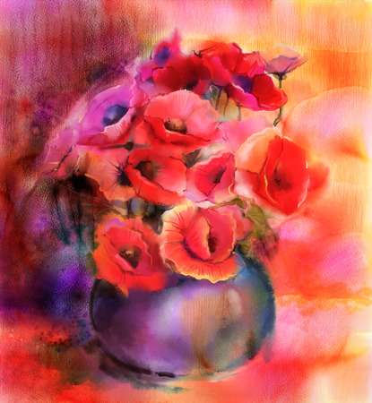 flowers in vase: Watercolor painting Still life of red and pink colorflower. Colorful Bouquet of poppy flowers in vase Stock Photo