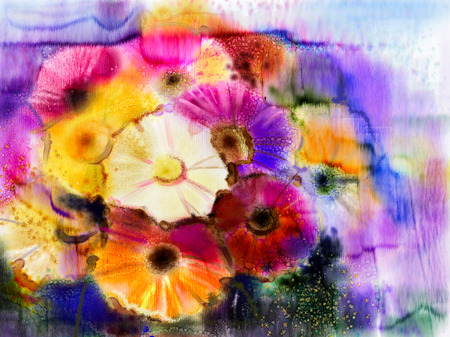 yellow daisy: Abstract flowers watercolor painting. Hand paint still life of Yellow, Pink and Red color daisy- gerbera floral in soft color on white yellow, green color background. Spring flower nature background