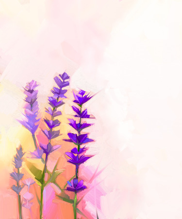 Abstract oil painting closeup lavender flowers 免版税图像