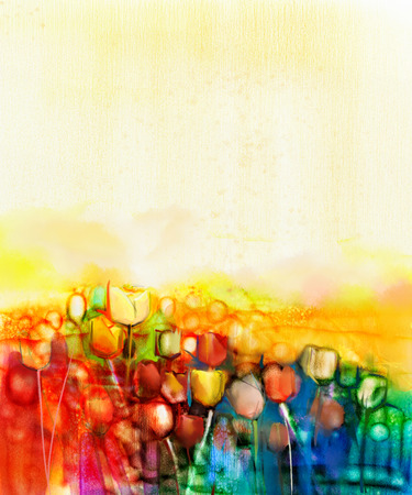 Abstract tulip flower field watercolor painting. Hand painted yellow red flowers in soft color with blue sky. Abstract floral paintings in the meadows. Spring flower seasonal nature background