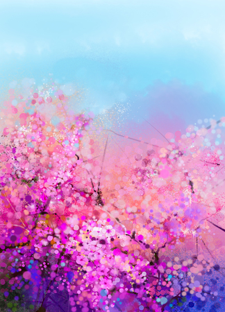 Watercolor painting Cherry blossoms - Japanese cherry - Sakura floral with blue sky. Pink flowers in soft color with blurred nature background. Spring flower seasonal nature background with bokeh 스톡 콘텐츠