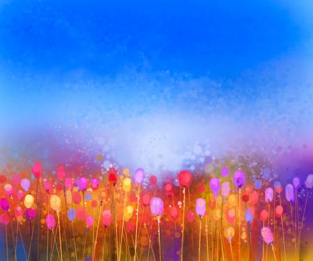 チューリップ花フィールド水彩画を抽象化します。手描きの柔らかい色と青い空に黄色の赤花。牧草地の花の絵を抽象化します。春の花、季節の自