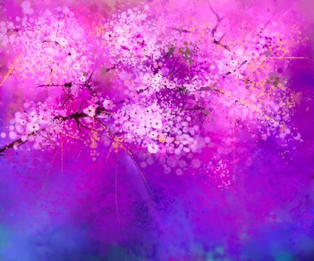 cerezos en flor: Pintura de la acuarela Flores de cerezo - cerezo japonés Sakura - flores con el cielo azul. flores de color rosa suave con el fondo de la naturaleza borrosa. flor de la primavera de temporada naturaleza de fondo con el bokeh Foto de archivo