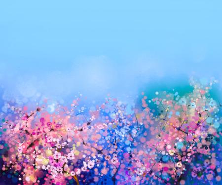Aquarel schilderij Cherry bloesem - Japanse kers - Sakura bloemen met blauwe hemel. Roze bloemen in zachte kleur met vage achtergrond van de natuur. Lentebloem seizoensgebonden karakter achtergrond met bokeh