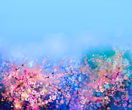 light painting: Watercolor painting Cherry blossoms - Japanese cherry - Sakura floral with blue sky. Pink flowers in soft color with blurred nature background. Spring flower seasonal nature background with bokeh Stock Photo