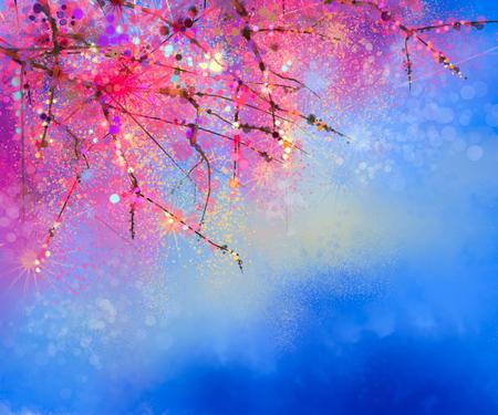 Aquarel schilderij Cherry bloesem - Japanse kers - Sakura bloemen met blauwe hemel. Roze bloemen in zachte kleur met vage achtergrond van de natuur. Lentebloem seizoensgebonden karakter achtergrond met bokeh Stockfoto