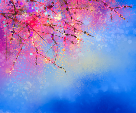 Watercolor painting Cherry blossoms - Japanese cherry - Sakura floral with blue sky. Pink flowers in soft color with blurred nature background. Spring flower seasonal nature background with bokeh Stock Photo