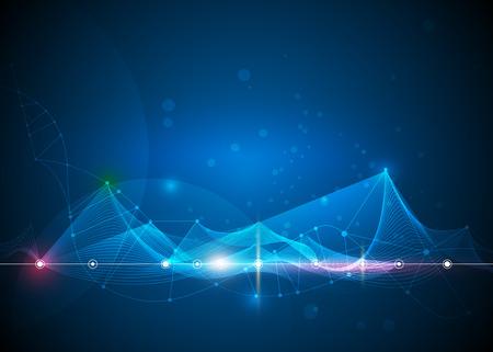図抽象的な分子、円、線、多角形、3 D メッシュ。青色の背景のベクトル デザイン通信技術。未来デジタル技術コンセプト