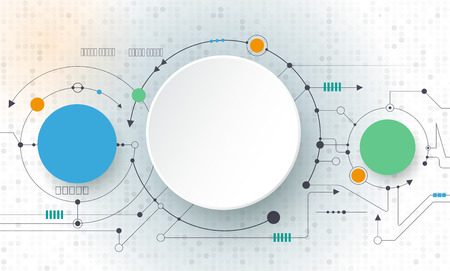 ベクトル明るい灰色の背景、ハイテク デジタル技術の概念の抽象的な未来回路基板。空白の白い 3 d ペーパー丸ラベル コンテンツ、ビジネス、ネッ
