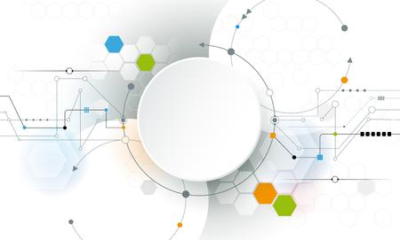 circuitos electricos: placa de circuito futurista abstracto del vector en fondo gris claro, de alta tecnología concepto de la tecnología digital. En blanco blanco 3d círculo de papel de etiquetas con espacio para el diseño de páginas web de contenido, de negocios, de la red y Vectores