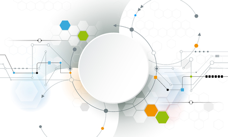 Vector Abstract circuit futuriste bord sur fond gris clair, salut-technologie concept de la technologie numérique. Blank label cercle de papier 3d blanc avec espace pour votre contenu, entreprise, réseau et web design