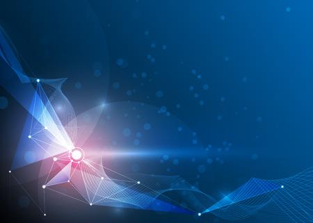 Resumen ilustración Moléculas y malla 3D con círculos, líneas, formas poligonales. tecnología de comunicación de diseño vectorial sobre fondo azul. concepto de la tecnología digital Futuristic-