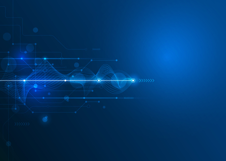 Vector futurista abstracto de la placa de circuito y la línea de malla, la ilustración de alta tecnología informática y de comunicación sobre el fondo de color azul. Alta tecnología de la tecnología digital, concepto global de medios sociales