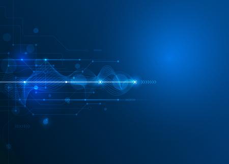 alto: Vector futurista abstracto de la placa de circuito y la línea de malla, la ilustración de alta tecnología informática y de comunicación sobre el fondo de color azul. Alta tecnología de la tecnología digital, concepto global de medios sociales