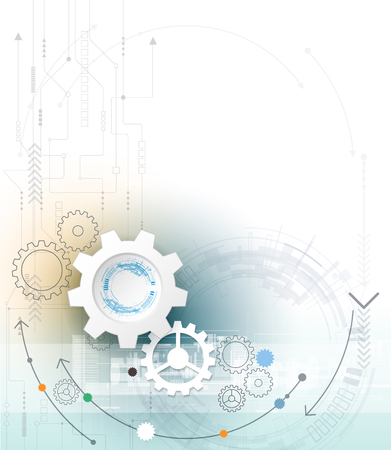 digital media: Vector illustration gear wheel and circuit board, Hi-tech digital technology and engineering, digital telecom technology concept. Abstract futuristic on light blue color background