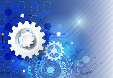 ベクトル図の歯車、六角形と回路基板、ハイテク デジタル技術と工学、デジタル通信技術コンセプト。明るい青色の背景に未来的な抽象化します。  イラスト・ベクター素材