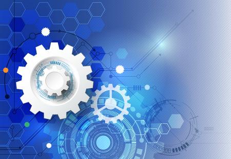 engranajes: Vector ilustración rueda de engranaje, hexágonos y placa de circuito, la tecnología digital de alta tecnología y la ingeniería, digital concepto de la tecnología de las telecomunicaciones. Futurista abstracto en fondo azul claro del color Vectores