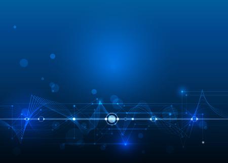 벡터 추상 파란색 배경에 회로 보드 및 메쉬 라인, 일러스트 높은 컴퓨터와 통신 기술의 미래. 첨단 디지털 기술, 글로벌 소셜 미디어 개념