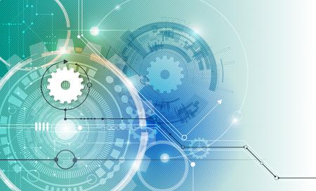 回路基板、ハイテク デジタル技術のベクトル図の白い歯車と工学、デジタル通信の技術の概念、抽象的な未来テクノロジーの青い色の背景に